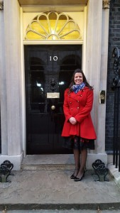 Angela Berry director of The Lampshade Company outside Number 10 Downing Street